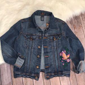 Vintage Jixi Butterfly Embroidered Denim Jacket